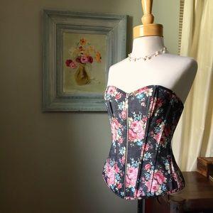 Tops - Funky Grey/pink Floral Denim Corset M/L EUC